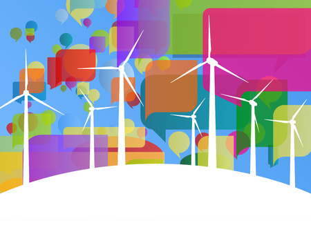rural development: Colorful wind electricity generators and windmills detailed ecology electricity silhouettes illustration collection background vector Illustration