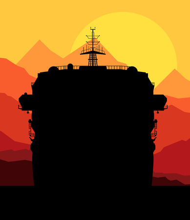 beach panorama: Cruise ship and palm tree vector background illustration nature landscape sunset