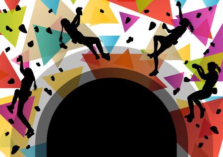 Los niños siluetas de niña en el muro de escalada en activo y saludable deportivo ilustración vectorial Foto de archivo - 52849893