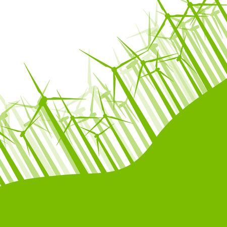 turbines: Background wind turbines vector illustration concept nature motion banner Illustration