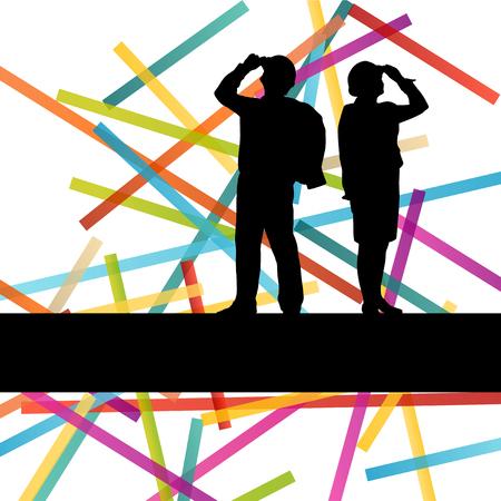 Ingénieur construction travailleur people silhouettes entreprise industrielle fond abstrait illustration vecteur actif dans