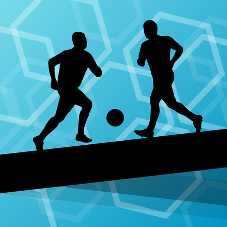 foot gear: Soccer player men silhouettes with ball in active and healthy seasonal outdoor sport abstract background illustration vector