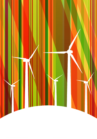 clean energy: Colorful wind electricity generators and windmills detailed ecology electricity silhouettes illustration collection background vector Illustration