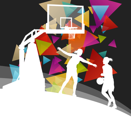 discharges: Basketball players young active men healthy sport silhouettes vector background illustration Illustration