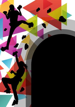 niño trepando: Los niños siluetas de niña en el muro de escalada en activo y saludable deportivo ilustración vectorial