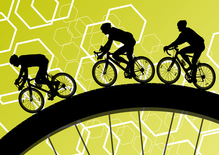 circular silhouette: Cyclist active bicycle rider in abstract sport landscape background illustration vector