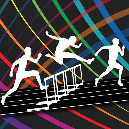 difficulties: Hurdle race active and healthy men barrier running vector background winner overcoming difficulties concept graphic vector