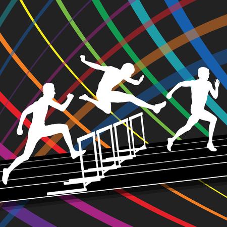 hurdling: Hurdle race active and healthy men barrier running vector background winner overcoming difficulties concept graphic vector