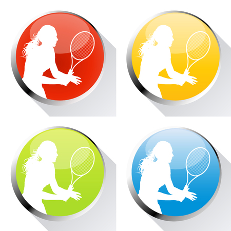 cope: Tennis player woman web icon or badge vector background set