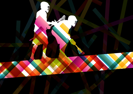 lacrosse: Lacrosse players silhouettes active and healthy sport vector abstract background illustration