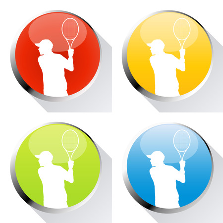 cope: Tennis player man web icon or badge vector background set