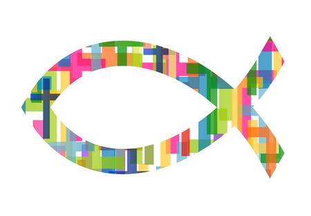 pez cristiano: pescados cristianos símbolo de Jesús vector resumen de antecedentes ilustración del concepto Vectores