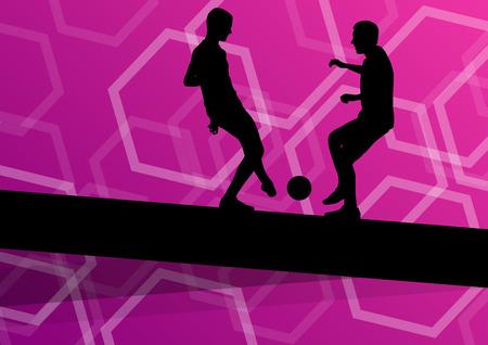 Giocatore di calcio degli uomini sagome con palla in attivo e sano sport all'aria aperta astratto illustrazione vettoriale stagionale Archivio Fotografico - 52850068