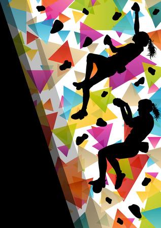 Kinder Mädchen Silhouetten auf Kletterwand in aktiven und gesunden Sport Hintergrund vektor