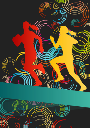 tough girl: Rugby players young active women healthy sport silhouettes vector background illustration