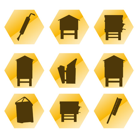 swarm: Beekeeping vector background tool set and beekeepers icons illustration isolated on white