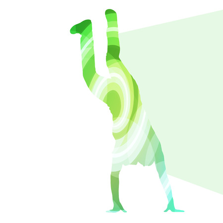 party down: Hip hop dancer silhouette isolated abstract vector background concept isolated