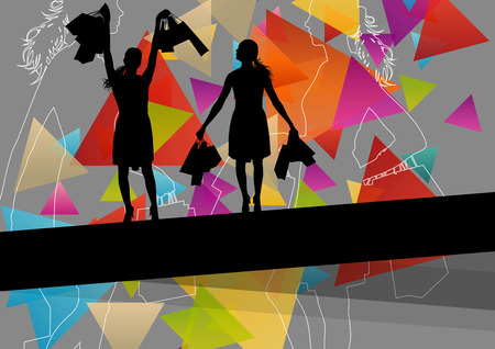 spend the summer: Women silhouettes with shopping bags in active abstract background seasonal illustration vector