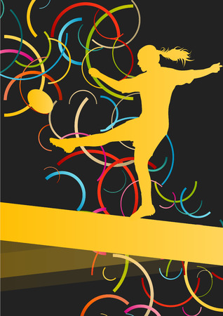 women sport: Rugby players young active women healthy sport silhouettes vector background illustration