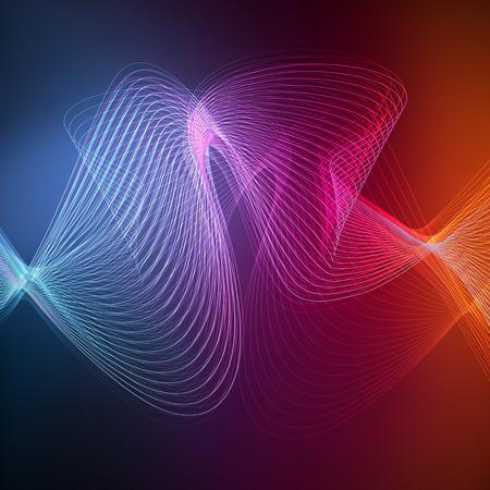Neón concepto abstracto del vector del fondo de líneas de onda transparentes