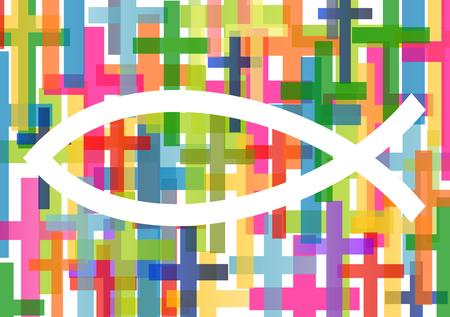pez cristiano: pescados cristianos s�mbolo de Jes�s vector resumen de antecedentes ilustraci�n del concepto Vectores
