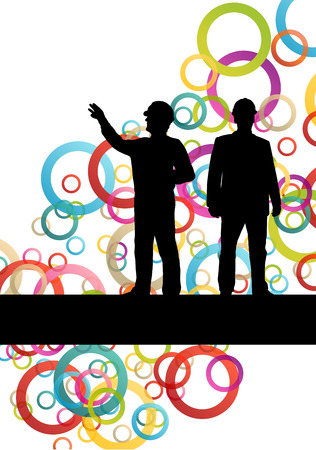 construction project: Construction engineer worker people silhouettes in active industrial business abstract background illustration vector