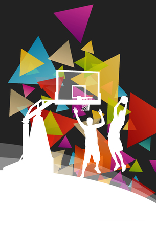 injuries: Basketball players young active men healthy sport silhouettes vector background illustration Illustration