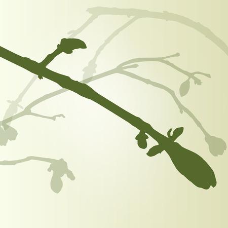 ecology background: Branch green buds ecology environmental spring vintage background vector illustration new start concept