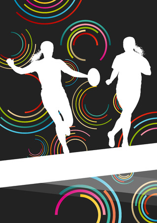 scrum: Rugby players young active women healthy sport silhouettes vector background illustration