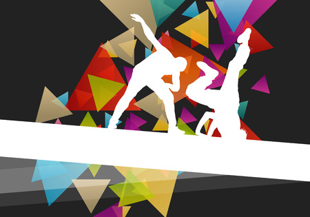 street party: Street dancers young active and healthy people sport silhouettes vector background illustration