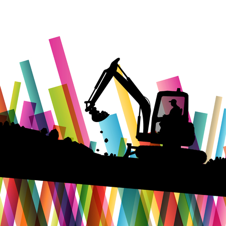 Excavator bulldozer industrial land digging machinery silhouette in abstract construction site business economy background vector concept illustration