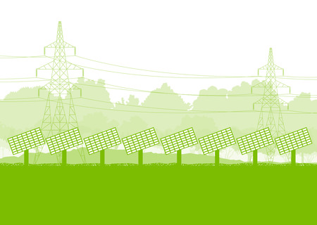 tree works: Solar panel and high voltage towers vector background ecology green concept Illustration