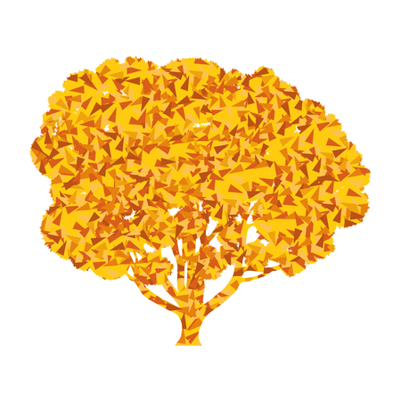 tree symbol: Tree stylized autumn eco symbol concept made of fragments