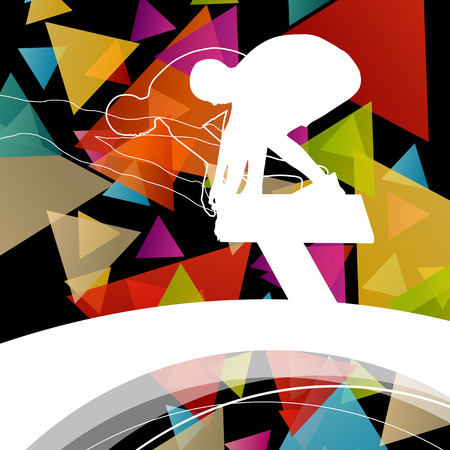 fit: Swimming people fit and active healthy silhouettes isolated sport color abstract shape background illustration