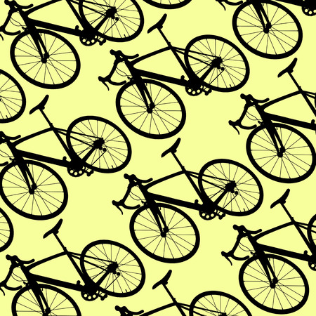 commuting: Bicycle vintage retro pattern background concept yellow illustration