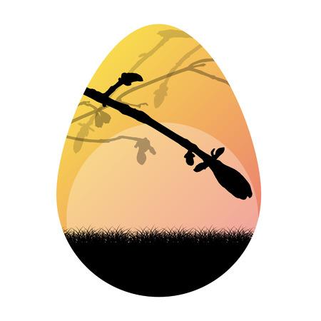 Easter egg vector background nature landscape spring branches concept illustration