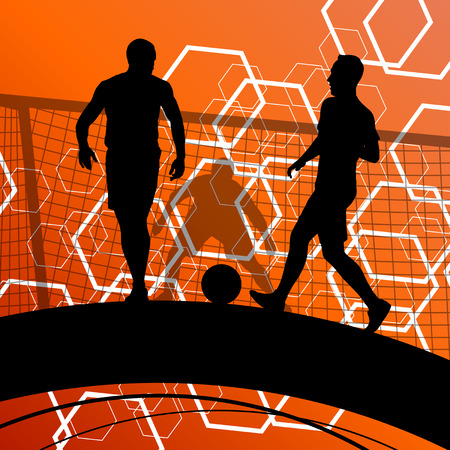 Soccer player men silhouettes with ball in active and healthy abstract background sport illustration vector Vettoriali