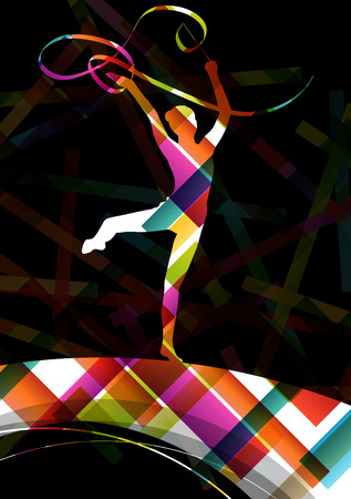 rhythm: Dancing carnival woman with ribbon silhouette in abstract circus color background vector illustration Illustration