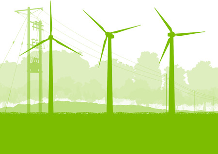 windpower: Wind generator and high voltage towers vector background ecology green concept