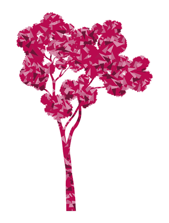 sakura tree: Sakura tree in full bloom stylized eco symbol concept made of fragments