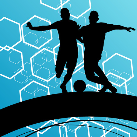 stamina: Soccer player men silhouettes with ball in active and healthy abstract background sport illustration vector Illustration