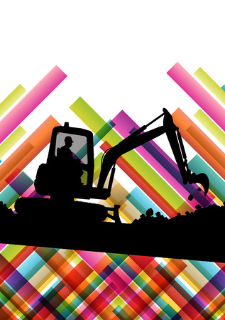 road grader: Excavator bulldozer industrial land digging machinery silhouette in abstract construction site business economy background vector concept illustration Illustration