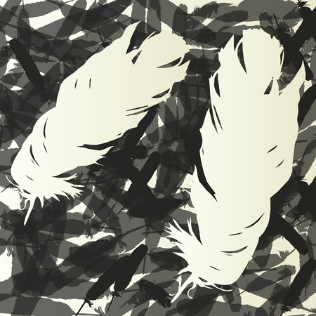 falling feather: Feathers background vintage retro illustration concept