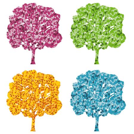 four season: Tree four season stylized eco symbol concept made of fragments Illustration
