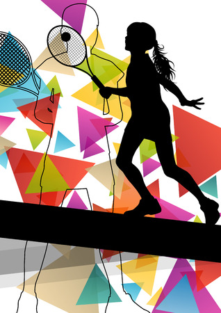 beauty contest: Tennis player women girl silhouettes in abstract sport color background vector illustration