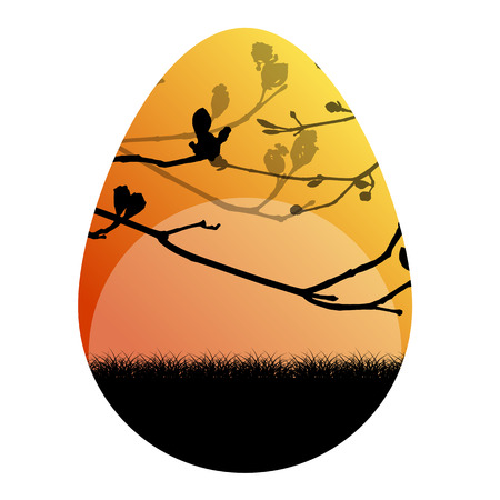 shilouette: Easter egg vector background nature landscape spring branches concept illustration
