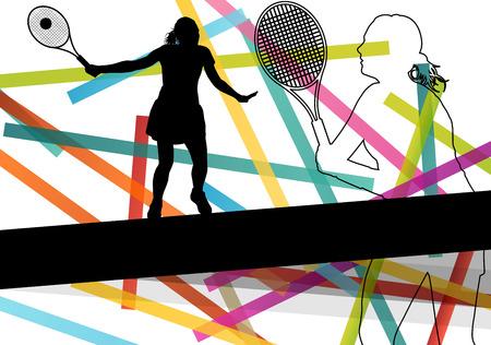 抽象的なスポーツでテニス プレーヤー女性女の子シルエット カラー背景ベクトル イラスト