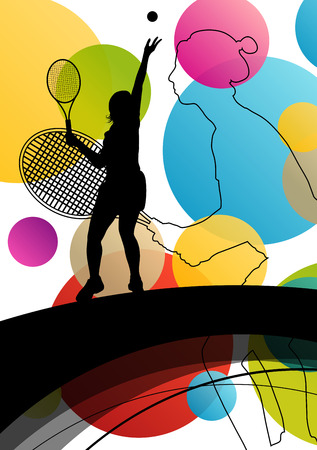 women sport: Tennis player women girl silhouettes in abstract sport color background vector illustration