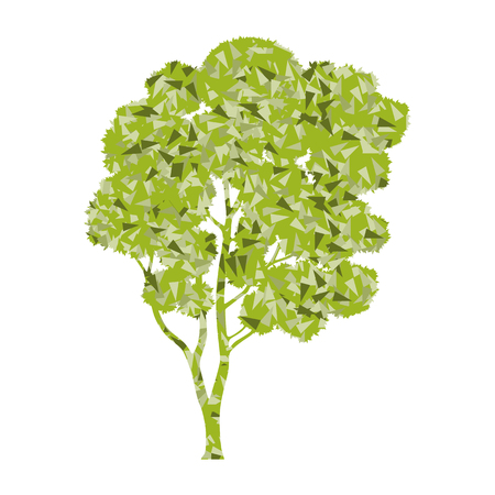 branchy: Tree stylized green spring and summer eco symbol concept made of fragments