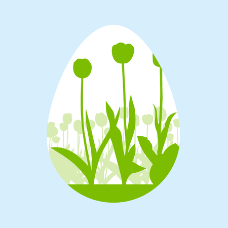 ecology background: Easter egg made of spring tulips vector background ecology concept